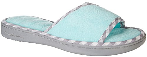 Gingham Aruba Blue Microfiber Terry Slide Multi Dearfoams Slippers Womens Fxnwpqp57