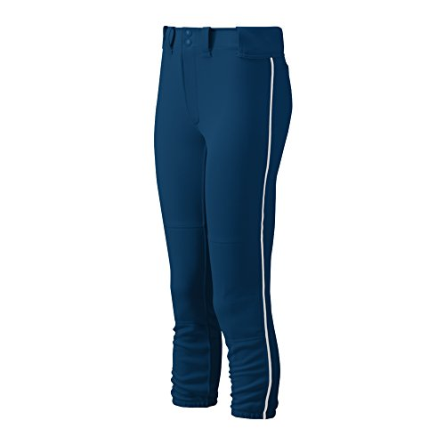 Mizuno Adult Women's Belted Piped Fastpitch Softball Pant, Navy-White, ()