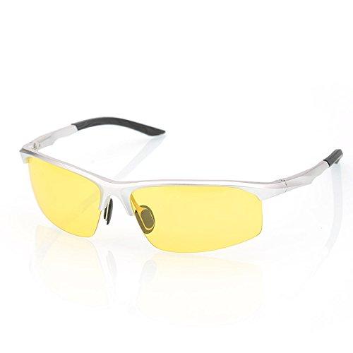 del los de TIANLIANG04 de polarizadas conductores aluminio nocturna plata amarilla hombre sol de de Lente gafas anteojos magnesio guía visión Argento y para gafas Wrxr6wqHP8