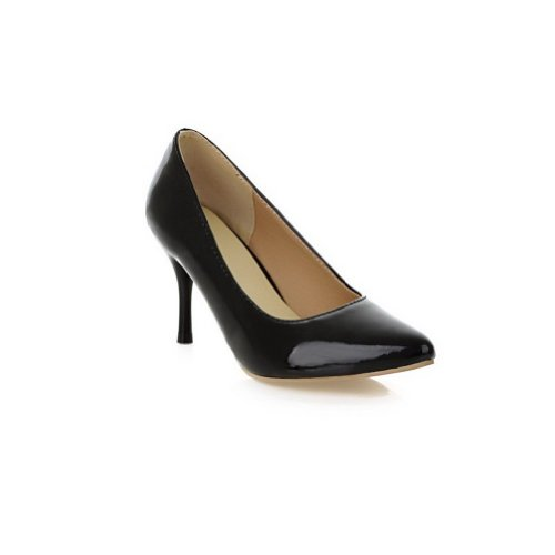 VogueZone009 Womens Closed Pointed Toe High Heel Patent Leather PU Solid Pumps Black K0i9jrv1