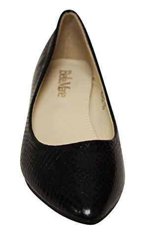 Bella Marie Womens Angie-101 Pointy Toe Patent Flats Silver Black 2dhDz