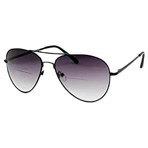 In Style Eyes® C.Moore Aviator Bifocal Sunglasses Pewter 3.50 Strength