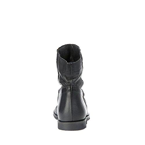 Felmini - Chaussures Femme - Tomber en amour avec Clash 9071 - Bottines Cowboy & Biker - Genuine Cuir - Noir