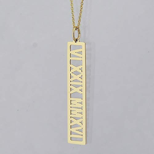- Personalized Name Open Bar Pendant Solid 14k Gold Vertical 1 1/4 Inches Roman Numerals Charm