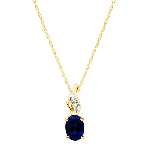 1 ct Created Sapphire Pendant Necklace with Diamonds in 10K Gold