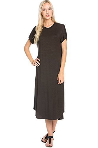 Dress Made in 82 Maxi Casual Days Long Sleeve Dark Summer Brown USA Hem Curved Womens Short vv7wTqnP
