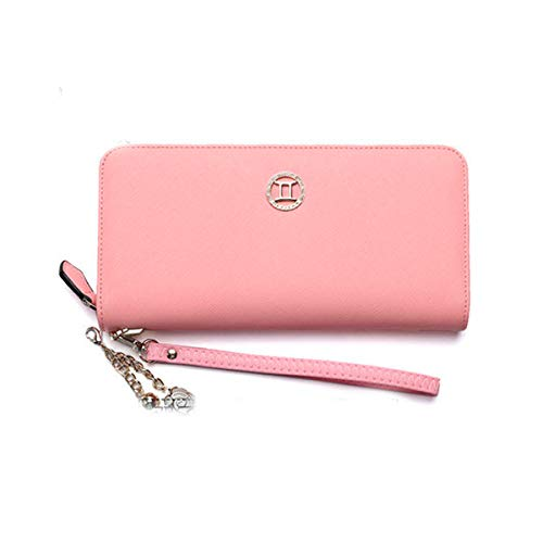 Muziwenju Women's 12 Constellation Leather Wallet, Clutch, Big Travel Wallet, Women's Zipper Wallet, Women's Boxed Gift, Love Gift (Pink) Latest Style, Practical (Color : Gemini)