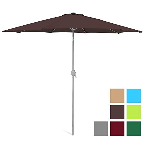 Best Choice Products 9ft Outdoor Market Patio Umbrella w/Crank Tilt Adjustment, 180G Polyester, Wind Vent, 1.5in Diameter Aluminum Pole - Brown