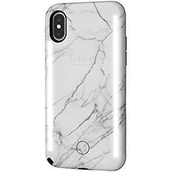 new arrivals 2ccce 67a17 LuMee Duo Phone Case, White Marble | Front & Back LED Lighting, Variable  Dimmer, Selfie Phone Case | Shock Absorption, Bumper Case | iPhone X /  iPhone ...