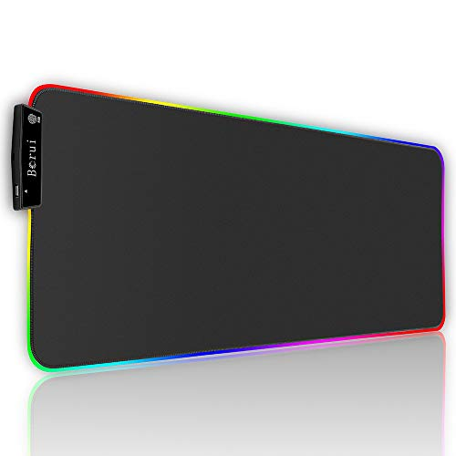 RGB Gaming Mouse Pad, Extended Mousepad with a Extra USB Port, Large Ultra Thick Computer Keyboard Pad Mat, Long Non-Slip Rubber Mice Pads, Perfect for Playing Game