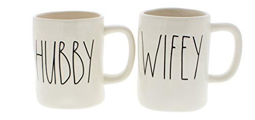 Rae Dunn Hubby & Wifey Set of (2) Mugs By Magenta