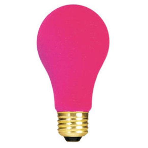 Ceramic Pink A19 Bulb - Bulbrite 106625 25W Ceramic Pink A19 Bulb