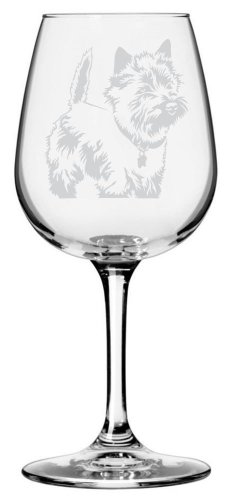 Art Cairn Terrier Dog (Cairn Terrier Dog Themed Etched All Purpose 12.75oz Libbey Wine Glass)
