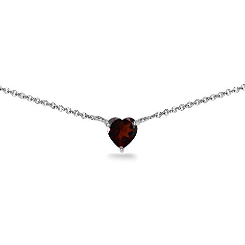 Sterling Silver Garnet 7x7mm Heart Shaped Dainty Choker ()