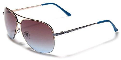 Giselle Women's Semi-Rimless Metal Frame Fashion Aviator - Aviator Sunglasses Turquoise