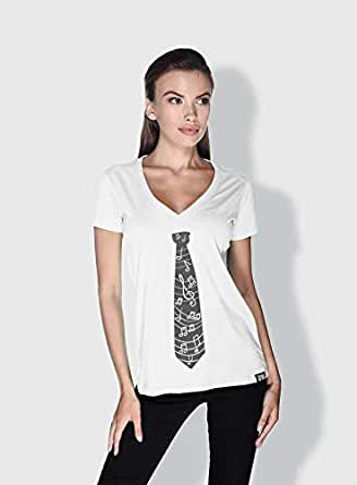 Creo Music Tie Trendy T-Shirts For Women - L, White