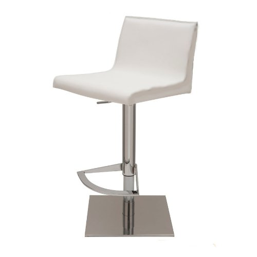Colter White Leather Adjustable Bar Counter Stool By Nuevo