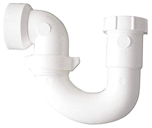 PVC White J-Bend, 1-1/2'' Pipe Dia, Slip Connection - Drains- Pack of 5 by Unknown