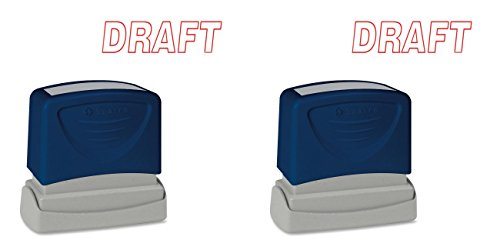 Sparco DRAFT Title Stamp, 1-3/4 x 5/8 Inches, Red Ink (SPR60017), 2 Packs