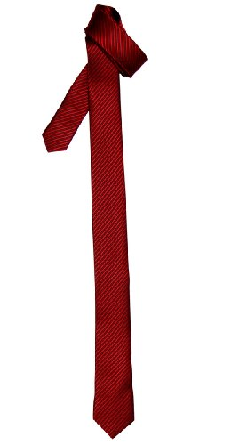 Retreez Skinny Tie with Stripe Textured - Red Wine]()