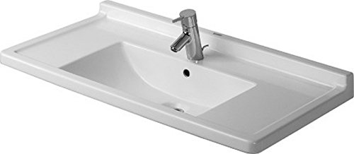 Duravit 0304800000 Starck 3 33-1/2-Inch Single-Hole Furniture Washbasin, White Finish