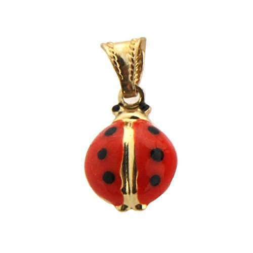 18K Yellow Gold Red Enamel Lady Bug Charm (10mm/19mm with Bail) by Amalia