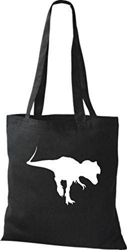 Tela de piel de cocodrilo dinosaurios dinosaurios algodón libro bolsa, bolsa, bolsa de la compra (bolsa de hombro disponible en una gama de colores Black - BLACK