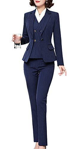 - Women's Three Pieces Stripe Blazer Suit Slim Office Lady Business Set Blazer Jacket,Pant/Skirt Navy