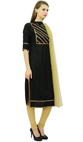 Beige Straight Set Schwarz Baumwolle Frauen Freizeitkleidung amp; Readymade Atasi Indischen Suit TAO6wvxq