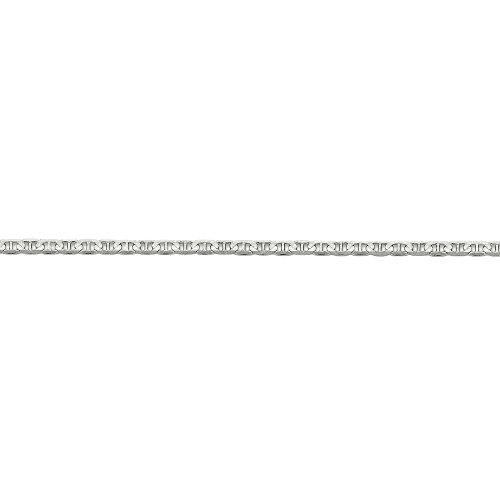 Anchor Links 14k Gold Bracelet (3mm Solid Concave Anchor Chain Bracelet in 14k White Gold, 8 Inch)