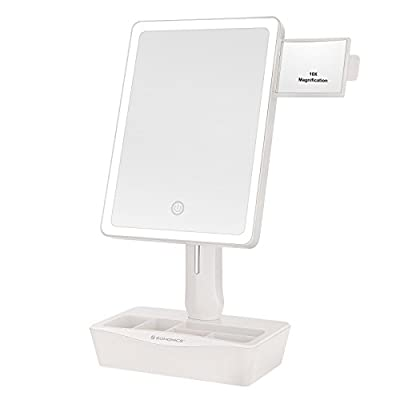 SONGMICS Large LED Lighted Makeup Mirror with Small 10x Magnification Vanity Mirror, Auto off Dimmable Light and Dual Power, Adjustable Stand with Cosmetic Organizer White UBBM10W