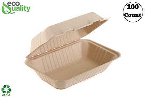 EcoQuality [100 PACK] 6 x 9 x 3 in Compostable Clam shell Take Out Food Container - Sugarcane Bagasse, Tree Free - Restaurant Supplies, Microwavable, Bidodegradable, Recyclable, Heavy Duty (Rectangle)
