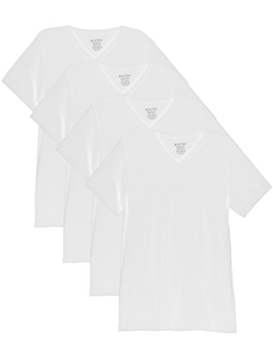 Bolter 4 Pack Men's Everyday Cotton Blend V Neck Short Sleeve T Shirt (XX-Large, 4PK ()