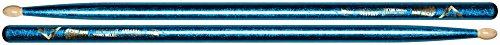 Vater Percussion Color Wrap 5A Drumsticks, Blue Sparkle, Wood Tip