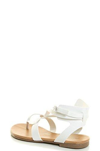 Flat Sandal Shoes Breckelles Ankle Open CAPRI 04 Toe White Cutout Cage Strap Womens qwzvwO