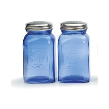 cheerful cool salt and pepper shakers. RSVP Retro Blue Glass Salt  Pepper Shakers Amazon com Red Home Kitchen
