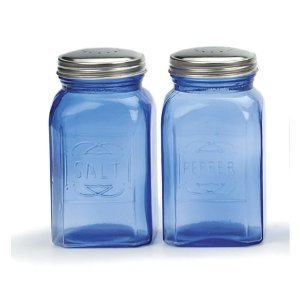 RSVP Retro Blue Glass Salt & Pepper - Blue And Salt Pepper