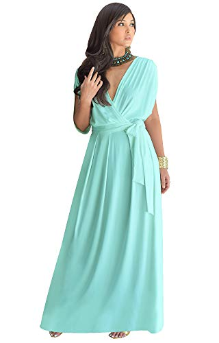 KOH KOH Womens Long Formal Short Sleeve Cocktail Flowy V-Neck Casual Bridesmaid Wedding Party Guest Evening Cute Maternity Work Gown Gowns Maxi Dress Dresses, Light Mint Green L 12-14