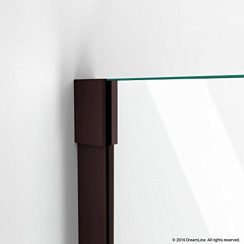 "DreamLine Unidoor-X 36 in. Width, Frameless Hinged Shower Door, 3/8"" Glass, Oil Rubbed Bronze Finish high-quality"