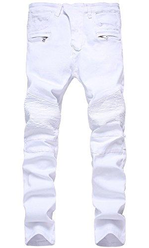 HENGAO Men's Casual Straight Slim Fit Biker Jeans Denim Pants, 1733 White, W36