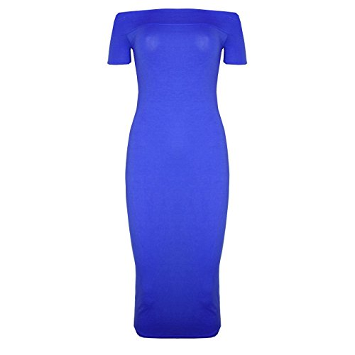 Midi Bodycon Womens Plain Dress New Royal Long Sleeve Cap Off Stretch Blue Bardot Shoulder qXPqdfw