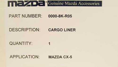Genuine Mazda Accessories 0000-8K-R05 Soft Cargo Liner