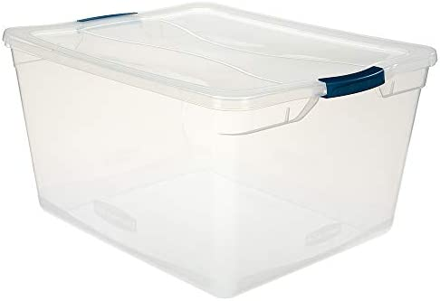 Rubbermaid Cleverstore Clear 71 QT Pack of four Stackable Large Storage Containers with Durable Latching Clear Lids