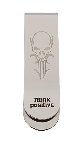 (Think Positive Stainless Steel Highly Polished with Skull Lasered Money Clip Wallet Cash Credit Card Business Card Holder for Man and Women)