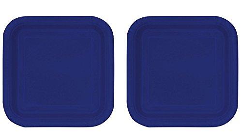 Unique Industries Square Navy Blue Paper Cake Plates - 2 Set of 16