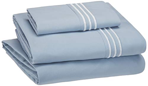 AmazonBasics Embroidered Hotel Stitch Sheet Set - Premium, Soft, Easy-Wash Microfiber - Twin, Dusty Blue