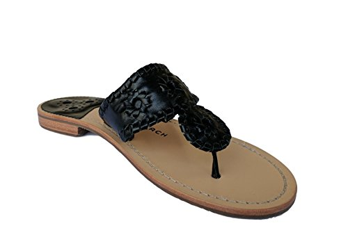 The Original Handmade Palm Beach Sandal with Rubber Sole, By Palm Beach Sandals (6 B(M) US, Black)