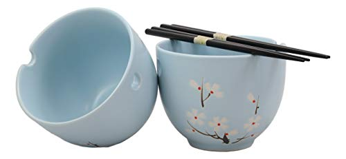 (Ebros Ceramic Japanese Sakura Cherry Blossoms Sky Blue Ramen Udong Noodles Bowls and Chopsticks Set of 2 for Asian Dining Soup Rice Pasta Salad Collection of Bowl Decor Home Kitchen)