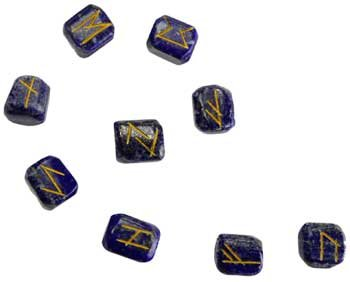 Fortune Telling Toys Rune Stone Sets Elder Futhark with Single Blank Divination Lapis Lazuli Gemstones