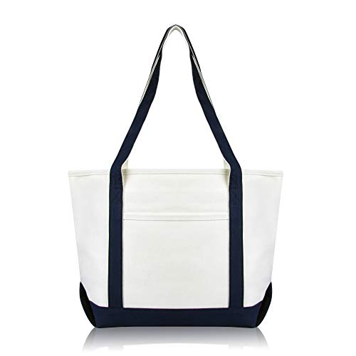 DALIX Daily Shoulder Tote Bag Premium Cotton in Navy Blue